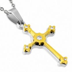Pendentif double croix médiévale en acier inoxydable argenté/doré et gemmes
