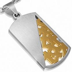 Pendentif tag en forme de croix latine à deux tons en acier inoxydable