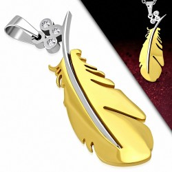Pendentif plume dorée tige argentée et gemmes