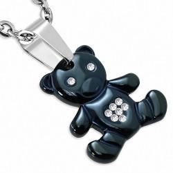 Pendentif symbole de résistance à l'ours bicolore en acier inoxydable gemme