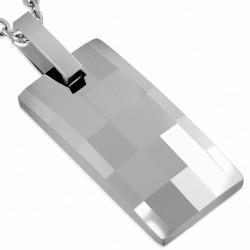 Pendentif rectangulaire à facettes en carbure de tungstène taillé