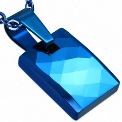 Pendentif mini rectangle taillé façon diamant en carbure de tungstène bleu