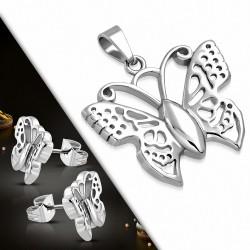 Pendentif avec papillon en acier inoxydable et paire de boucles d'oreilles (SET)
