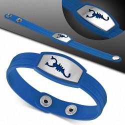 Bracelet caoutchouc bleu royal avec clé grecque style montre motif signe zodiac scorpion acier inoxydable fermeture à pression