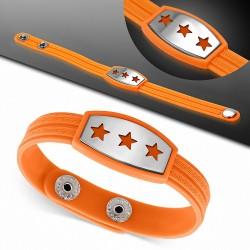 Bracelet caoutchouc orange avec clé grecque style montre avec motif 3 étoiles en acier inoxydable et fermeture à pression