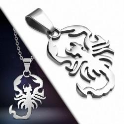 Pendentif signe du zodiaque Scorpion en acier inoxydable