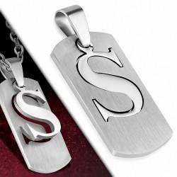 Pendentif en forme de S avec alphabet en 2 parties en acier inoxydable