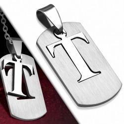 Pendentif en forme de T avec un alphabet et une découpe en acier inoxydable
