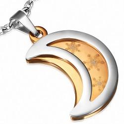 Pendentif demi-lune rosée et croissant de lune argenté avec étoile brillante en acier inoxydable