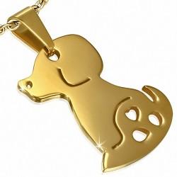 Pendentif en forme de breloque  chien avec coeur d'amour en forme de coeur en acier inoxydable doré