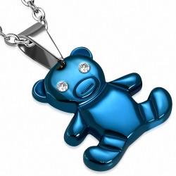 Pendentif ours en acier inoxydable bleu à 2 tons gemme
