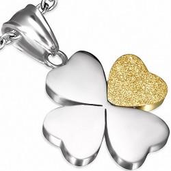 Pendentif fleur en forme de coeur avec coeur d'amour sablé en acier inoxydable 2 tons