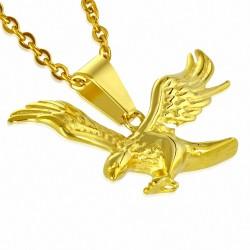 Pendentif breloque oiseau aigle volant en acier inoxydable doré