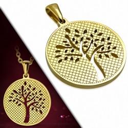 Pendentif en forme de cercle de l'arbre de Bodhi en forme de découpage en acier inoxydable doré