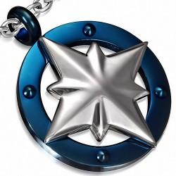 Pendentif breloque boussole étoile en acier inoxydable à 2 tons en croix