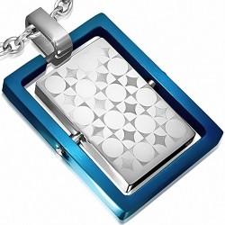 Pendentif rectangulaire bleu avec plaque pivotante argentée et formes géométriques