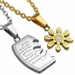 Couple de Poupée Scie sauteuse Couple en acier inoxydable 2 tons Affirmation-Love Sun Flower w / strass