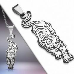 Pendentif signe du zodiaque chinois avec 2 tigres rugissants en acier inoxydable