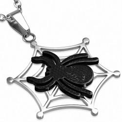 Pendentif avec charm de toile d'araignée veuve noire en acier inoxydable 2 tons