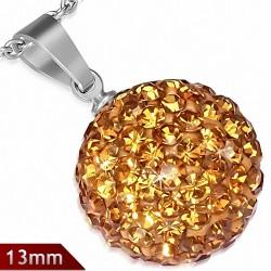 Pendentif sphère en acier inoxydable de 13 mm avec multiples gemmes jaune foncé novembre