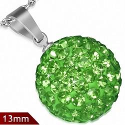 Pendentif sphère en acier inoxydable de 13 mm avec multiples gemmes vert
