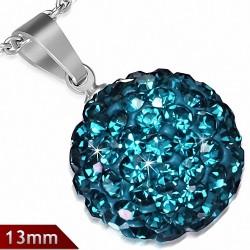 Pendentif sphère en acier inoxydable de 13 mm avec multiples gemmes turquoise de décembre