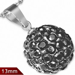 Pendentif sphère en acier inoxydable de 13 mm avec multiples gemmes grises