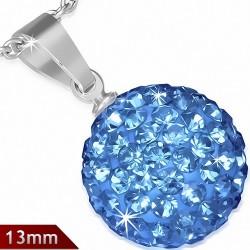 Pendentif sphère en acier inoxydable de 13 mm avec multiples gemmes bleu septembre