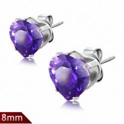 Paire boucles d'oreilles avec broche en acier inoxydable de 8mm sertie de pierres de naissance de février en forme de cœur