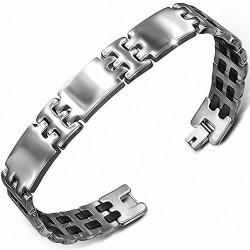 Bracelet en acier inoxydable avec maillons gravés Panthère géométrique à deux tons en caoutchouc noir