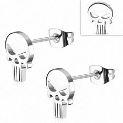 Boucles d'oreilles motard en acier inoxydable avec tête de mort fantôme (paire)