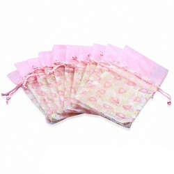 12x22cm | Pochon cadeau pour bijoux en organza rose motif cœur (unité)