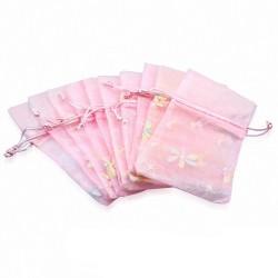 12x22cm | Pochette cadeau pour bijoux en organza rose motif fleur de vigne (unité)