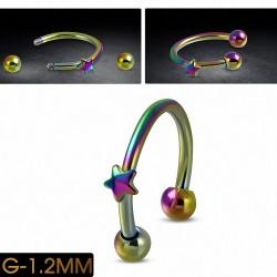 Piercing circulaire  fer à cheval en acier inoxydable anodisé arc-en-ciel | Boule 3mm | G-1