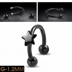 Piercing  fer à cheval étoile en acier inoxydable noir | Boule 3mm | G-1