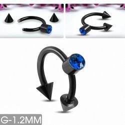Piercing en fer à cheval en acier inoxydable anodisé noir avec Capri Blue CZ | Pointe conique 3 mm | G-1
