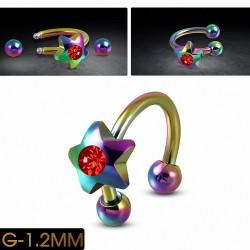 Piercing circulaire en acier inoxydable anodisé arc-en-ciel avec barre en fer rouge Siam clair CZ | Boule 3mm | G-1