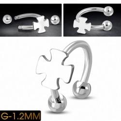 Piercing en fer à cheval Pattee Cross en acier inoxydable | Boule 3mm | G-1