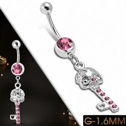 Piercing nombril Crâne en acier inoxydable Love Horeillet Key CZ Rose| Boule-5mm | G-1