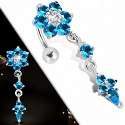 Piercing nombril pendentif fleur en acier inoxydable avec saphir transparent et bleu CZ | Boule-5mm | G-1