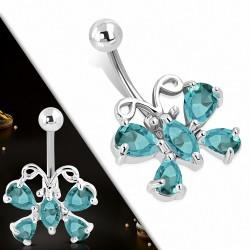 Breloque papillon en acier inoxydable pendantes Piercing nombril avec zircon bleu CZ   Boule-5mm   G-1