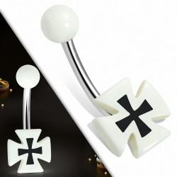 Piercing nombril  en acier inoxydable avec croix pattee en acrylique blanc 3 tons | Boule-6mm | G-1