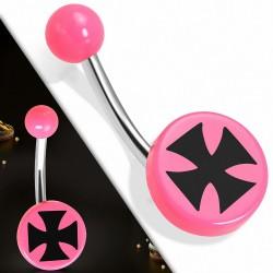 Piercing nombril  en acier inoxydable avec cercle rond en acrylique rose pattee 3 tons | Boule-6mm | G-1
