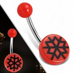 Piercing nombril  en acier inoxydable  avec cercle en acrylique rouge à 3 tons | Boule-6mm | G-1