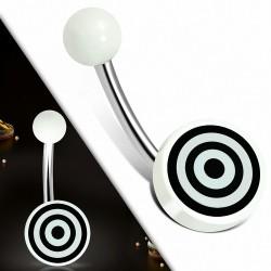 Piercing nombril  en acier inoxydable avec cercle rond en acrylique blanc 3 tons Bullseye | Boule-6mm | G-1