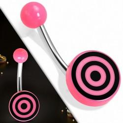 Piercing nombril  en acier inoxydable avec cercle bullseye en acrylique rose 3 tons | Boule-6mm | G-1