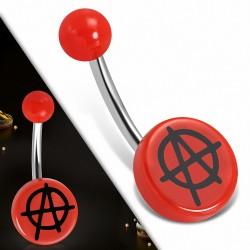 Piercing nombril  en acier inoxydable  en acrylique rouge Symbole d'anarchie 3 tons Cercle rond | Boule-6mm | G-1