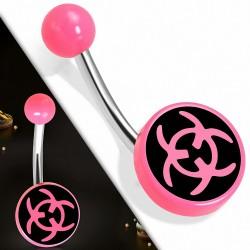 Piercing nombril  en acier inoxydable symbole de risque biologique en acrylique rose 3 cercles   Boule-6mm   G-1