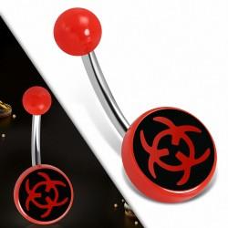 Piercing nombril  en acier inoxydable avec symbole de danger biologique en acrylique rouge 3 tons | Boule-6mm | G-1