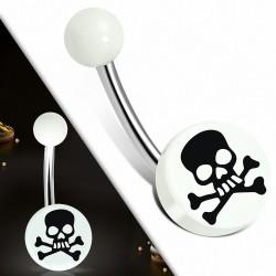 Piercing nombril  en acier inoxydable  acrylique blanc 3 tons Crâne Cercle rond | Boule-6mm | G-1